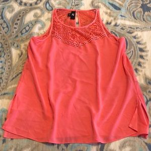 Coral lace top tank